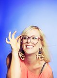 Playful Woman with Large Glasses Royalty Free Stock Photo
