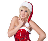 Playful woman in Santa Claus clothes Stock Photography