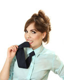 Playful woman in a shirt with a tie. Royalty Free Stock Images