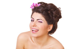 Playful woman shows tongue Stock Photos