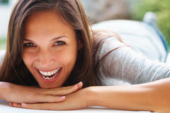 Playful woman smiling Royalty Free Stock Images
