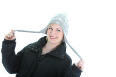 Playful woman in winter hat Stock Photos