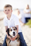 Playful Young Boy with His Dog Outdoors Royalty Free Stock Photos