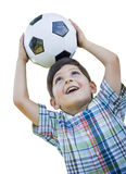 Playful Young Boy Holding Soccer Ball  on White Royalty Free Stock Photography