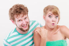 Playful young couple blonde girl bearded man Stock Image