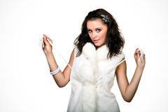 Playful young female. In fur vet stock photography