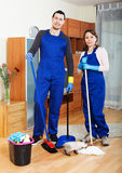 Playful young housecleaners Royalty Free Stock Photo