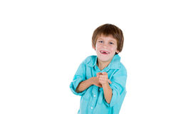 A playful young kid laughing at you, teasing Stock Images