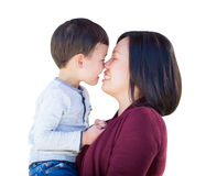 Playful Young Mixed Race Chinese Mother and Son Isolated Stock Images