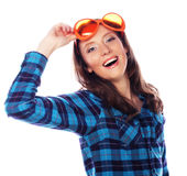 Playful young woman with big party glasses. Stock Photography