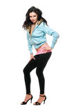Playful young woman in a black leggings Royalty Free Stock Photography