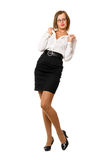 Playful young woman in a black skirt Royalty Free Stock Photography