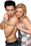 Playful young woman and a guy stock photos