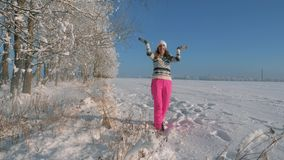 Playful Young Woman On Sunny Day In Winter, Pulls Tree Branch And Falling Snow. Playful young woman in pink pants and a warm sweater in the woods on a Sunny day stock video footage