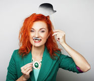playful young woman ready for party Royalty Free Stock Photo