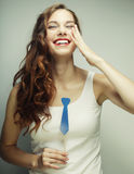 Playful young woman ready for party Royalty Free Stock Photos