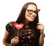 Playful young woman ready for party Stock Photos