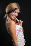 Playful young woman smiling. Very high resolution Royalty Free Stock Image