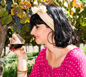 Playfull brunette in the vineyard Royalty Free Stock Photos