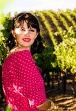 Playfull brunette in the vineyard Royalty Free Stock Images