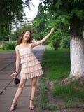 Playfully adolescente da menina ao ar livre. Imagem de Stock Royalty Free