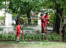 Playgound. Children were playing in a playground during recess school in Solo, Central Java, Indonesia Royalty Free Stock Photos