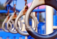 Playground. A close up view of playground rings Stock Images