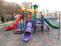 Playground. Colorful children playground in park Stock Images