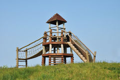 A playground. A wooden playground  a sunny spring day Stock Photography