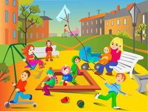 Playground. Kids are playing on the playground stock illustration