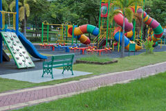 Playground. A colorful playground in a public park Royalty Free Stock Image