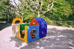 Playground. Toy-house for children in a public playground Royalty Free Stock Image