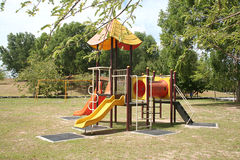 Playground. Beautiful and colorful playground on a quiet sunny day Royalty Free Stock Images