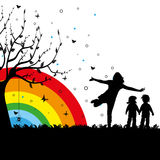 Playground. Abstract colorful background with rainbow, tree and kids playing. Playground theme Royalty Free Stock Images
