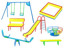 Playground. Collection of isolated play equipment Stock Images