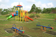 Playground. Beautiful and colorful playground on a quiet sunny day Royalty Free Stock Image
