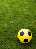 Playground. Grass with soccer ball Royalty Free Stock Images