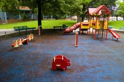 Playground. A Playground in residential area after rain in summer royalty free stock image