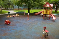 Playground. A Playground in residential area after rain in summer stock photography