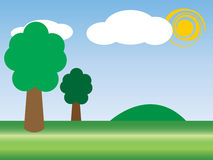 Playground. Illustration  of green field with tree and sun Royalty Free Stock Photos