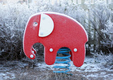Playground. A frozen elephant in a playground in winter Royalty Free Stock Photos