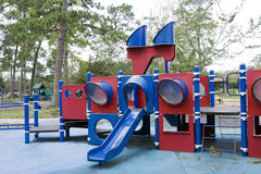 Playground. A playground with slides shaped into a boat Stock Photo
