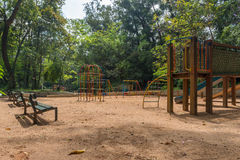 Playground at the Aclimacao Park in Sao Paulo. Sao Paulo, Brazil - October 15 2016: Playground at the Aclimacao Park. It was the first zoo in Sao Paulo and royalty free stock photos