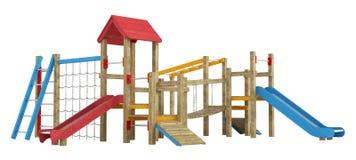 Playground apparatus with slides Stock Photos