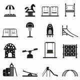 Playground black simple icons set. On white background Stock Image
