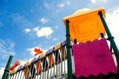 Playground in bright blue skies and white clouds. Playground in bright blue skies and white clouds in morning Stock Image