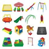 Playground cartoon icons stock illustration