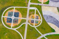 Playground for children aerial view. Autumn activities stock photography