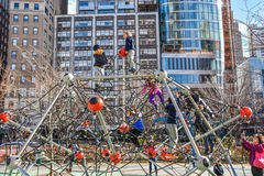 Playground with children along the Hudson River Greenway. Manhattan, New York, USA. Stock Photography