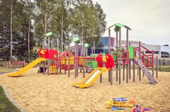 Playground for children. Playground near a new housing estate stock image